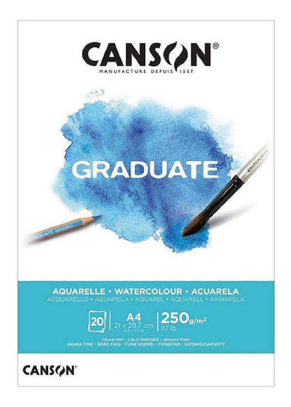 Bloco Canson Graduate Aquarelle A4 20fls 250grs