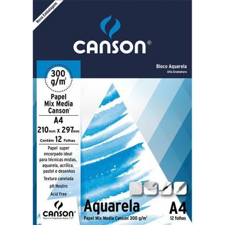 Bloco De Papel Canson Aquarela Mix Media 300g A4 12 Folhas