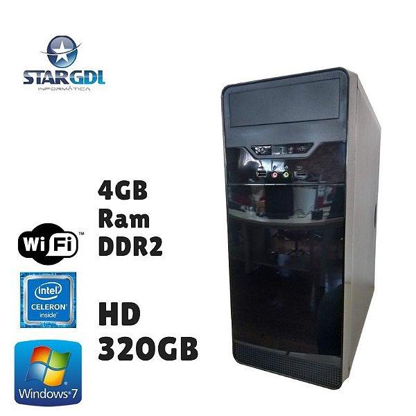 Nova: Computador Montado Intel Celeron 4GB Ram DDR2 HD 320GB Windows 07