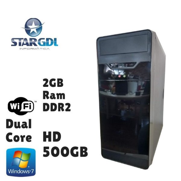 Nova: Computador Montada Intel Dual Core 2GB Ram DDR2 HD 500GB Windows 07