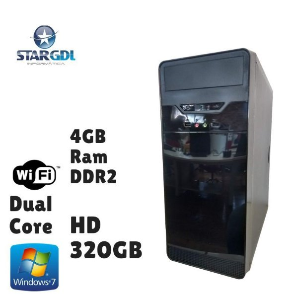 Nova: Computador Montado Intel Dual Core 4GB Ram DDR2 HD 320GB Windows 07