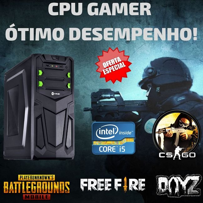 Nova : Cpu Gamer i5 8gb Ddr3 Hd500 Fonte 500w Windows 7 Pró + Vídeo 2gb