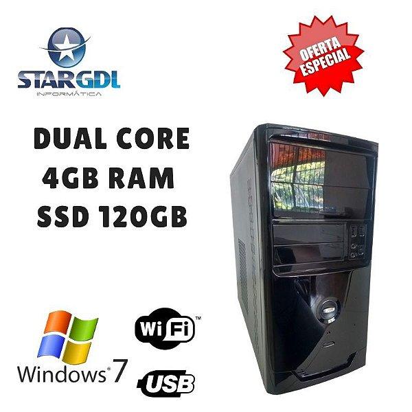 Nova: Computador Intel Pentium Dual 4gb Ram Ssd120 Windows 10 Pró