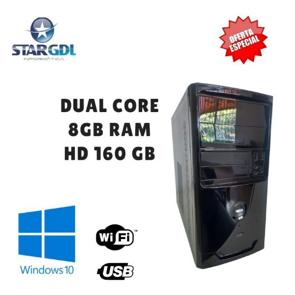 Nova: Computador Montado Intel Dual Core 8GB Ram HD 160GB Windows 10 Pró Original + Wi-Fi