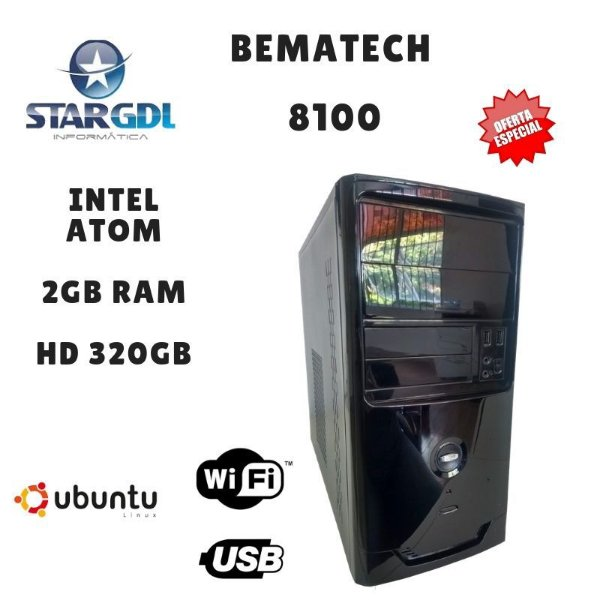 Novo: Computador Montado Bematech 8100 Proc. Intel Atom 2GB Ram HD 320GB Linux