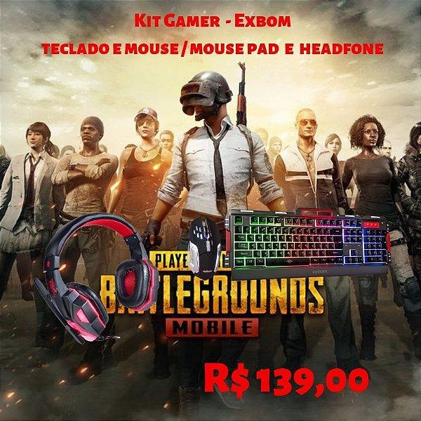 Kit Gamer _ Teclado e Mouse / HeadFone / Mouse - Exbom