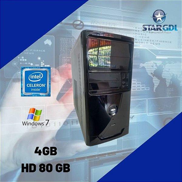 Cpu Celeron 4gb HD 80gb c/ Windows 7 + Brinde - Nova !