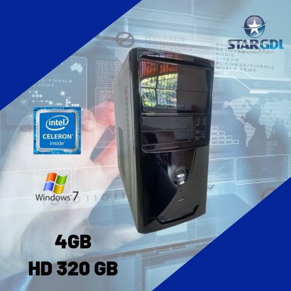 Cpu Celeron 4gb HD 320gb c/ Windows 7 + Brinde - Nova !
