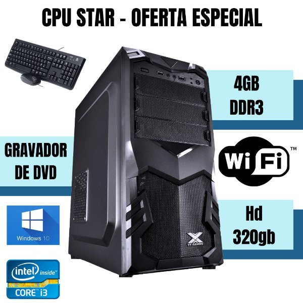 Cpu Montada Star i3 4gb 320gb Windows 10 + Brinde Nova !!!