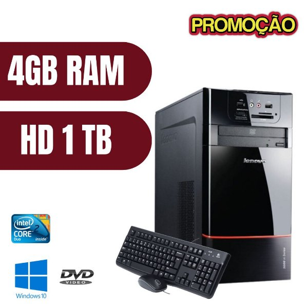 Pc Torre Lenovo Core 2 Duo 4gb Hd 1tb Win10 + Brinde - Usado