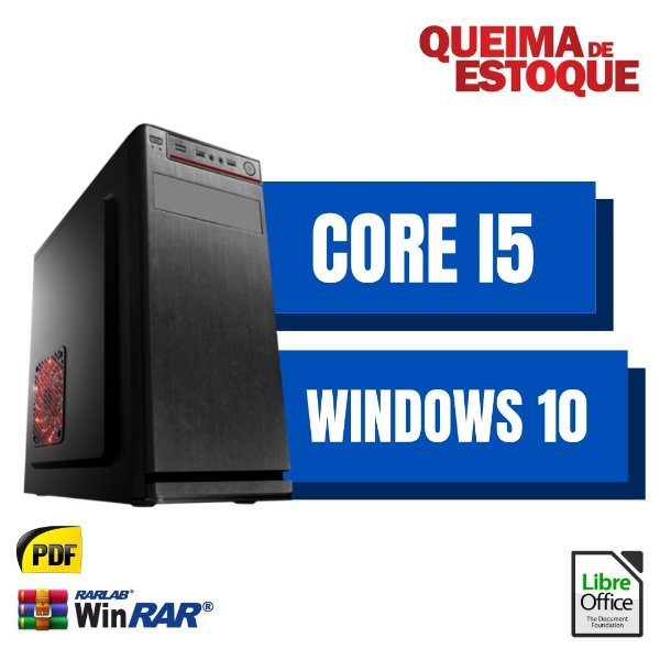 Pc Premium Core i5 8gb Ram DDR3 SSd 480gb Windows 10 Pró - Com Pacote de Programas - Teclado e Mouse USB Simples