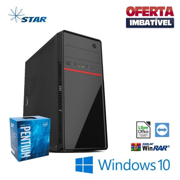 PC STAR - Dual Core 4gb Ram DDR2 Hd 500gb Windows 10 Pró -  Gravador de DVD - Pacote de Programas + Teclado e Mouse de Brinde