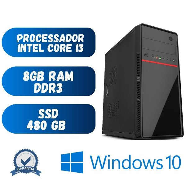Cpu Nova Pronta p/ Uso Core i3 8gb 480gb de SSd Windows 10.