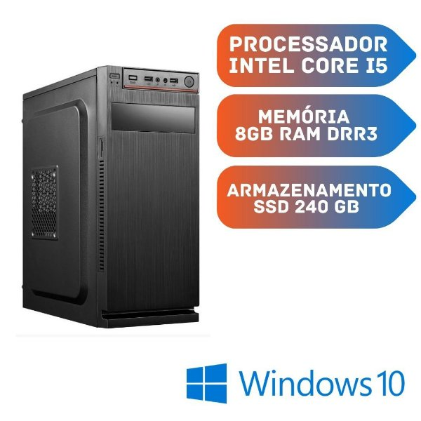 Cpu Cor i5 8gb Ram SSd 240gb Windows 10 Pro - Video 1gb