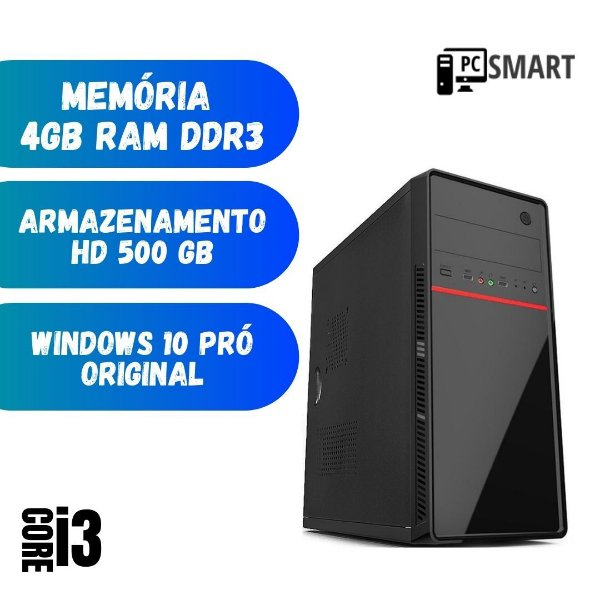 Computador Cpu Desktop i3 4gb Hd 500gb Win 10 Pró Dvd StarPc
