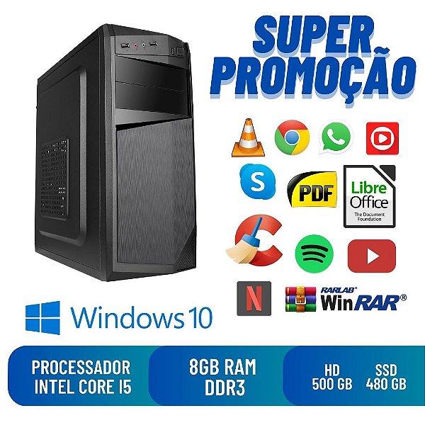 Computador Pc Cpu Desktop i5 8gb SSd 480 / Hd 500 Win10 Dvd!