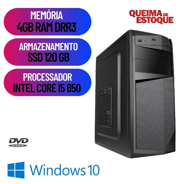 Pc Desktop Cpu Computador i5 4gb SSd 120gb Windows 10 Oferta