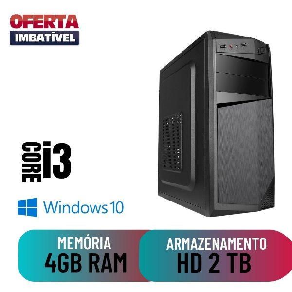 Computador Desktop Pc Cpu Montada i3 4gb Hd 2tb Windows 10.