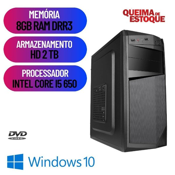 Pc Desktop Cpu Computador i5 8gb Hd 2tb Win10 Hdmi c/ Dvd Rw
