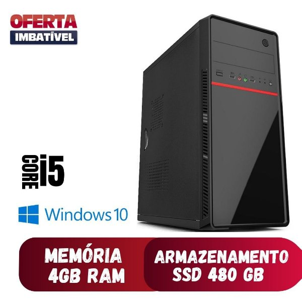 Computador Pc Desktop Cpu i5 4gb SSd 480gb Win10 Hdmi 500w.