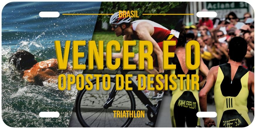 "Placa Decorativa Triathlon ""Vencer"""