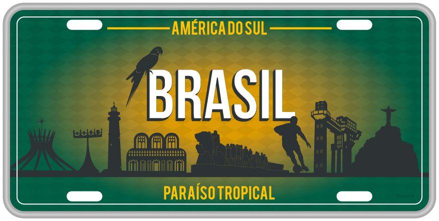 Placa Decorativa Brasil - América do Sul
