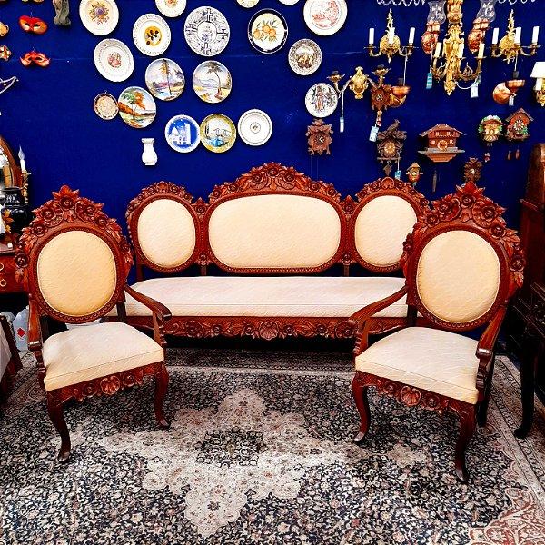 Conjunto Sofá Luis XV em Cerejeira Entalhada Artista Paco