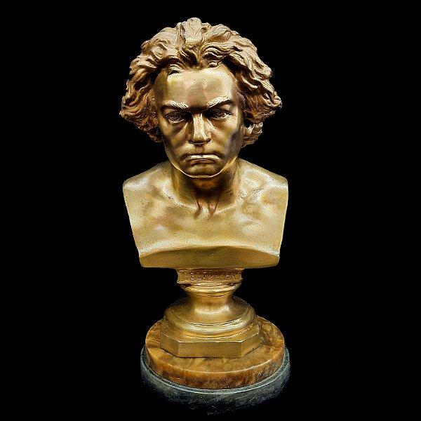 Busto Antigo em Bronze Beetohven Sob Mármoes Importados