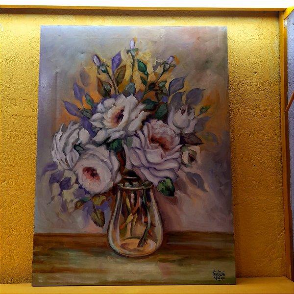 Tela Rosas Brancas por Acir Fressatto Óleo Sobre Tela