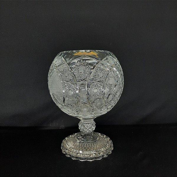 Vaso Redondo em Cristal Tcheco Lapidado UNI (0821)
