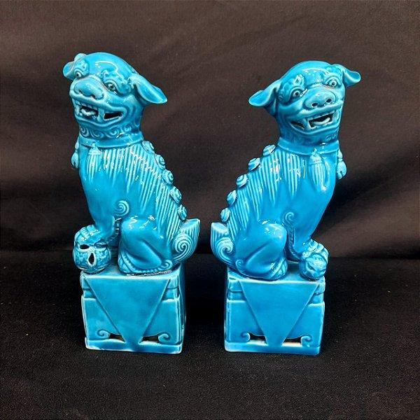 Par de Antigos Leões Guardiões Chineses (Cães de Fó) Azul Tu