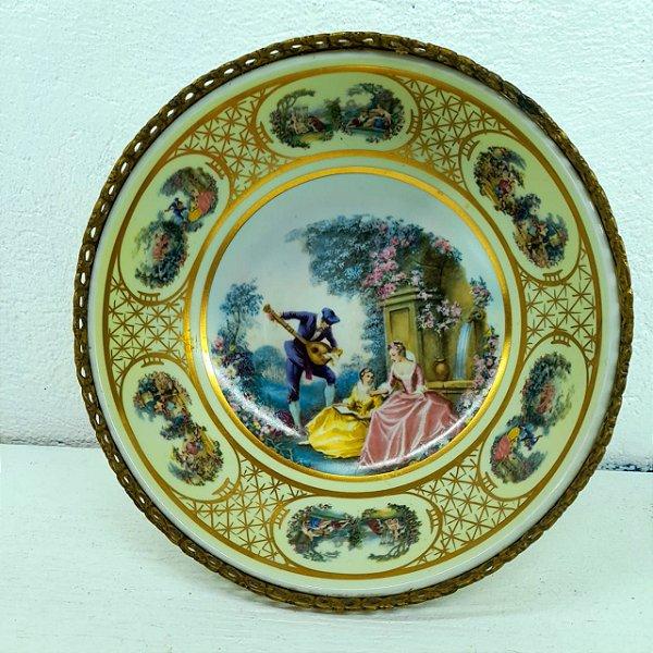 Centro de mesa de porcelana Alemã cena Estilo Fragonard  fil