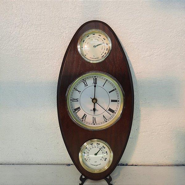 Relógio e Medidor Pluviométrico e Termômetro em Madeira