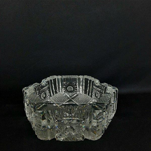 Cinzeiro Charuteiro de Cristal Lapidado Tchecoslovaquia Anos
