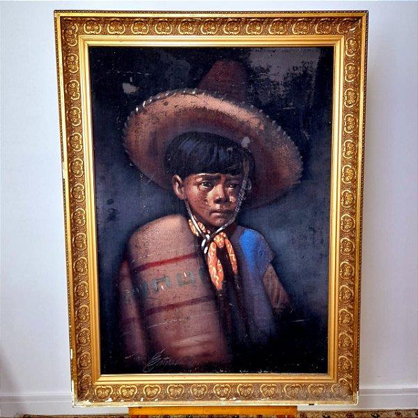 Quadro Mexicano pintura Sobre Veludo Anos 70 (85x62)