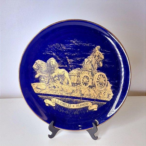 Prato de Porcelana Espanhol Azul Cobalto