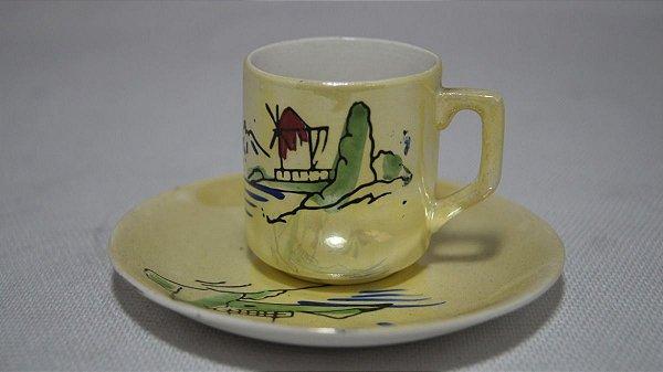 Mini Xícara Chá Café Com Pires Porcelana Japonesa