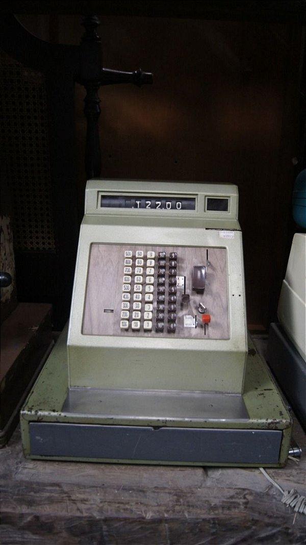 Antiga Caixa Máquina Registradora Metal Elétrica