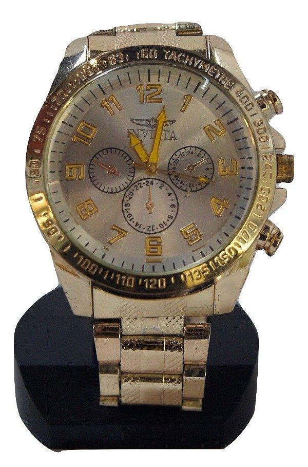 Relógio de pulso masculino dourado