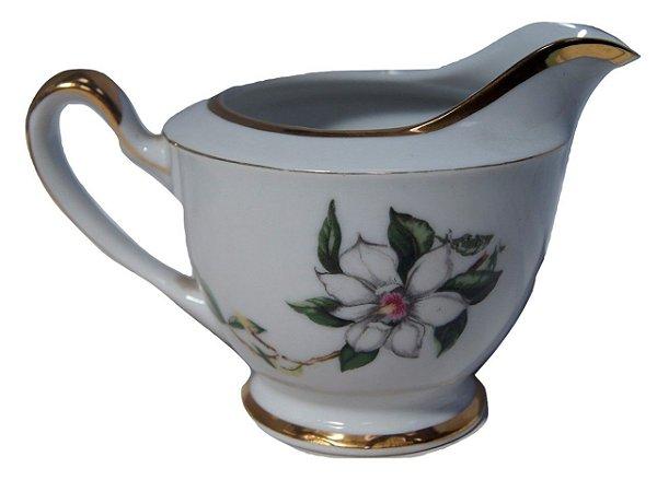 Antigo Leiteira De Porcelana Mogy Flores Branca