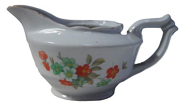 Antigo Leiteira De Porcelana Czechoslovakia Flores Laranja