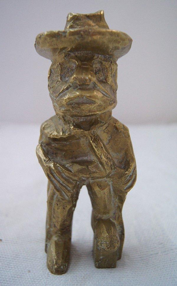 Escultura Estátua De Bronze Maciço Homem De Chapéu