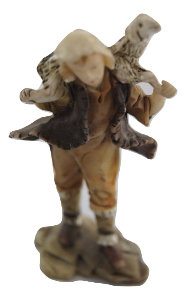 Escultura Estátua De Porcelana Criança E Ovelha