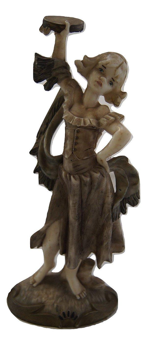 Escultura Estátua De Resina Moça Com Pandeiro