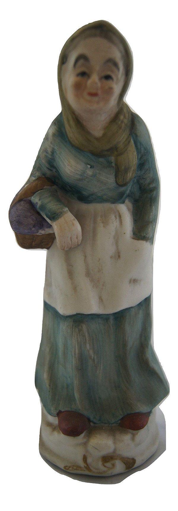 Escultura Estátua Bibelô De Porcelana Mulher Idosa