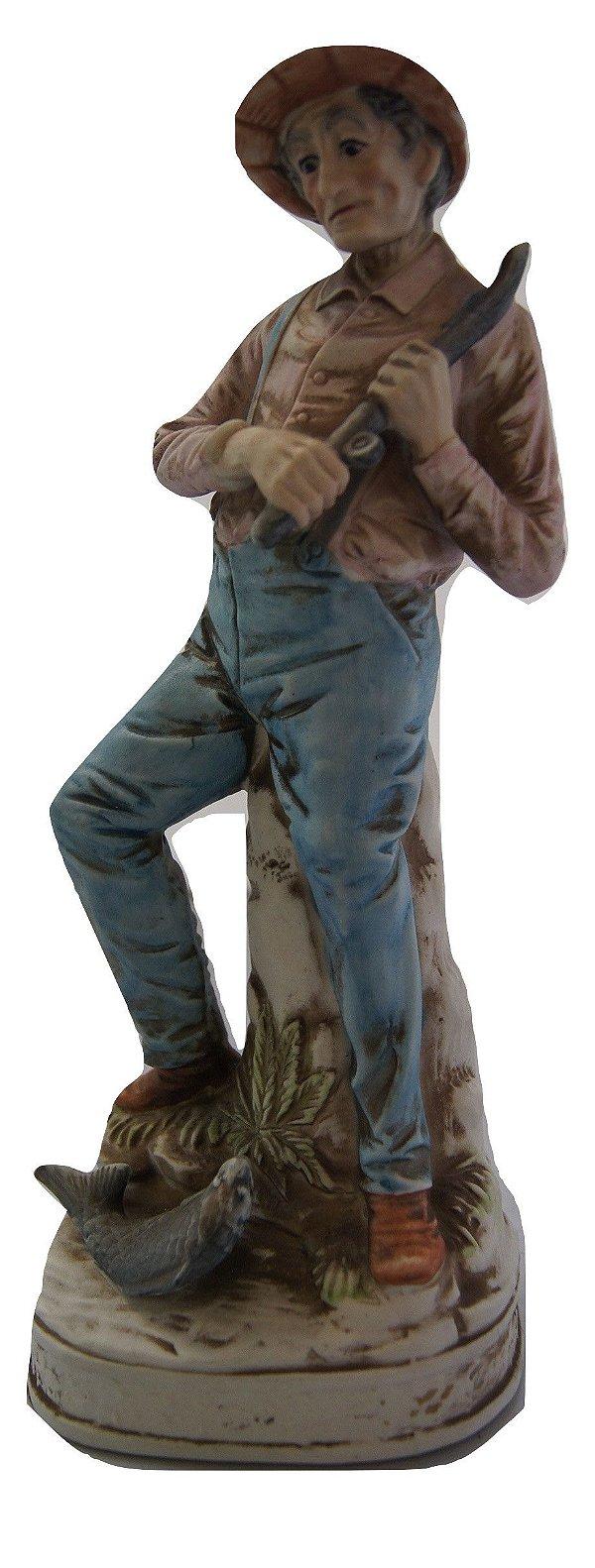 Escultura Estátua Bibelô De Porcelana Pescador
