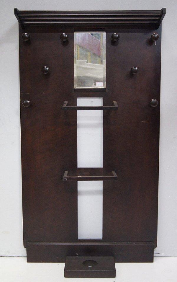 Chapeleiro Cabideiro Mancebo Madeira Espelho Hall Entrada