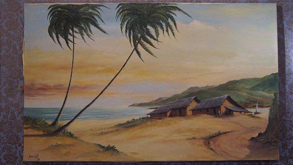 Tela Quadro Pintura Óleo Eugênio Shuwaloff  59 cm x 94 cm