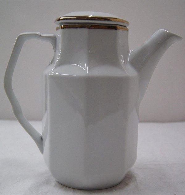 Antigo Bule Para Chá De Porcelana Schmidt Dourada