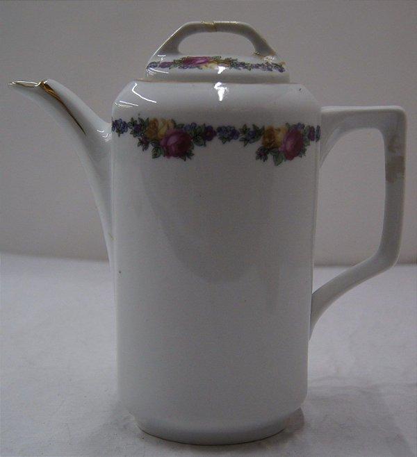 Antigo Bule Para Chá De Porcelana Czechoslovakia Flores